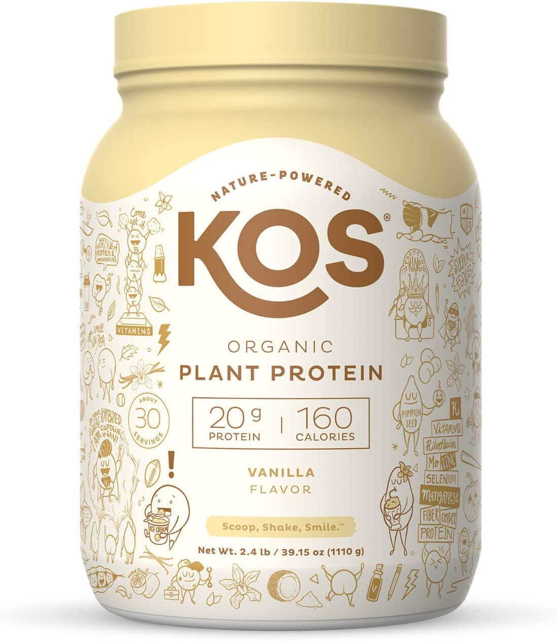 KOS Organic Plant Based Protein Powder, Vanilla - Delicious Vegan Protein Powder - Gluten Free, Dairy Free & Soy Free - 2.4 Pounds, 30 Servings: Health & Personal Care
