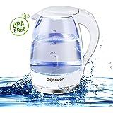 Aigostar Eve 30GON - Bollitore d'acqua in vetro borosilicato con illuminazione a LED. 2200W, 1.7L e Color Bianca. Protezione Boil-dry. BPA FREE. Design Esclusivo.