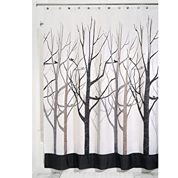 Amazon.com: InterDesign Forest Shower Curtain, Gray and Black 54 x ...