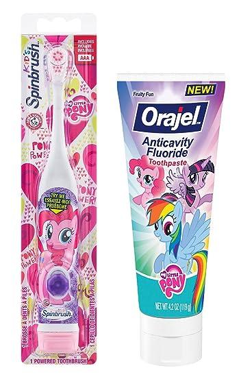Amazon.com: My Little Pony Pinkie Pie Toothbrush Bundle: 2 Items - Spinbrush Powered Toothbrush, Anticavity Fluoride Toothpaste: Beauty