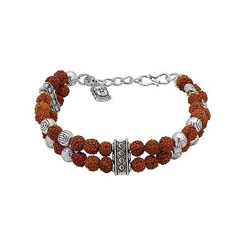 f433b5ccc58119 Voylla Voylla Designer Silver Plated Beaded Bracelet for Men (Silver)  (8907275977452)  Voylla Designer  Amazon.in  Jewellery