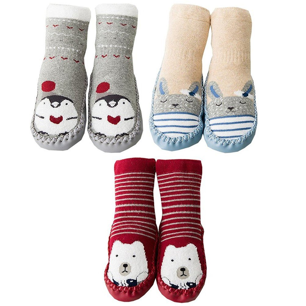 AMEIDD 3 Paires Chaussettes bébé garçon Fille Chaussettes de Sol Anti-dérapantes en Coton pour Enfants Bas Chauds pour Tout-Petits Pantoufle Chaussures Bottes Chaussons