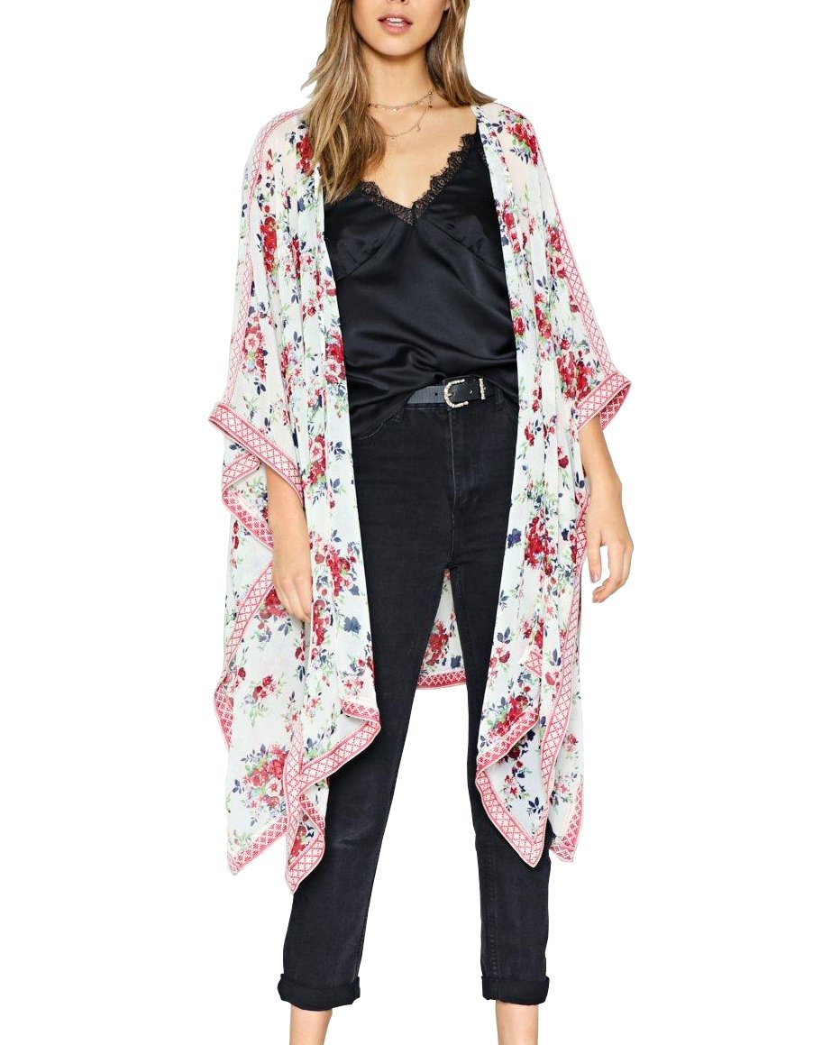 Chunoy Women Fashion 2018 Summer Floral Print Kaftan Kimono Cardigan Loose Cover up White Medium