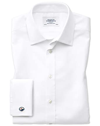 d0c9fab4 Slim Fit Egyptian Cotton Royal Oxford White Formal Shirt Single Cuff Size  18/37 by Charles Tyrwhitt: Amazon.co.uk: Clothing