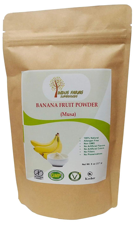 100% Natural Banana Fruit Powder, 8 oz, Eco-friendly Resealable pouch, No Artificial Flavors/Preservatives/Fillers, Halal, Vegan-Friendly