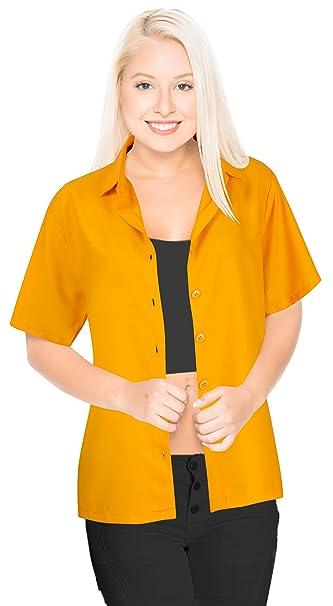 LA LEELA rayón de Peso Ligero botón de Mujeres feas Abajo Camisa Naranja Tapa sólida Ocasional
