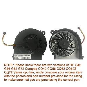Todiys CPU Fan for HP Compaq G42 G56 G62 G72 CQ42 CQ56 CQ62 CQ62Z CQ72 Series 606609-001 CQ56-109WM CQ56-115DX CQ62-219WM CQ62-418NR G56-128CA G62-347NR G62-355DX G62-435DX 646578-001