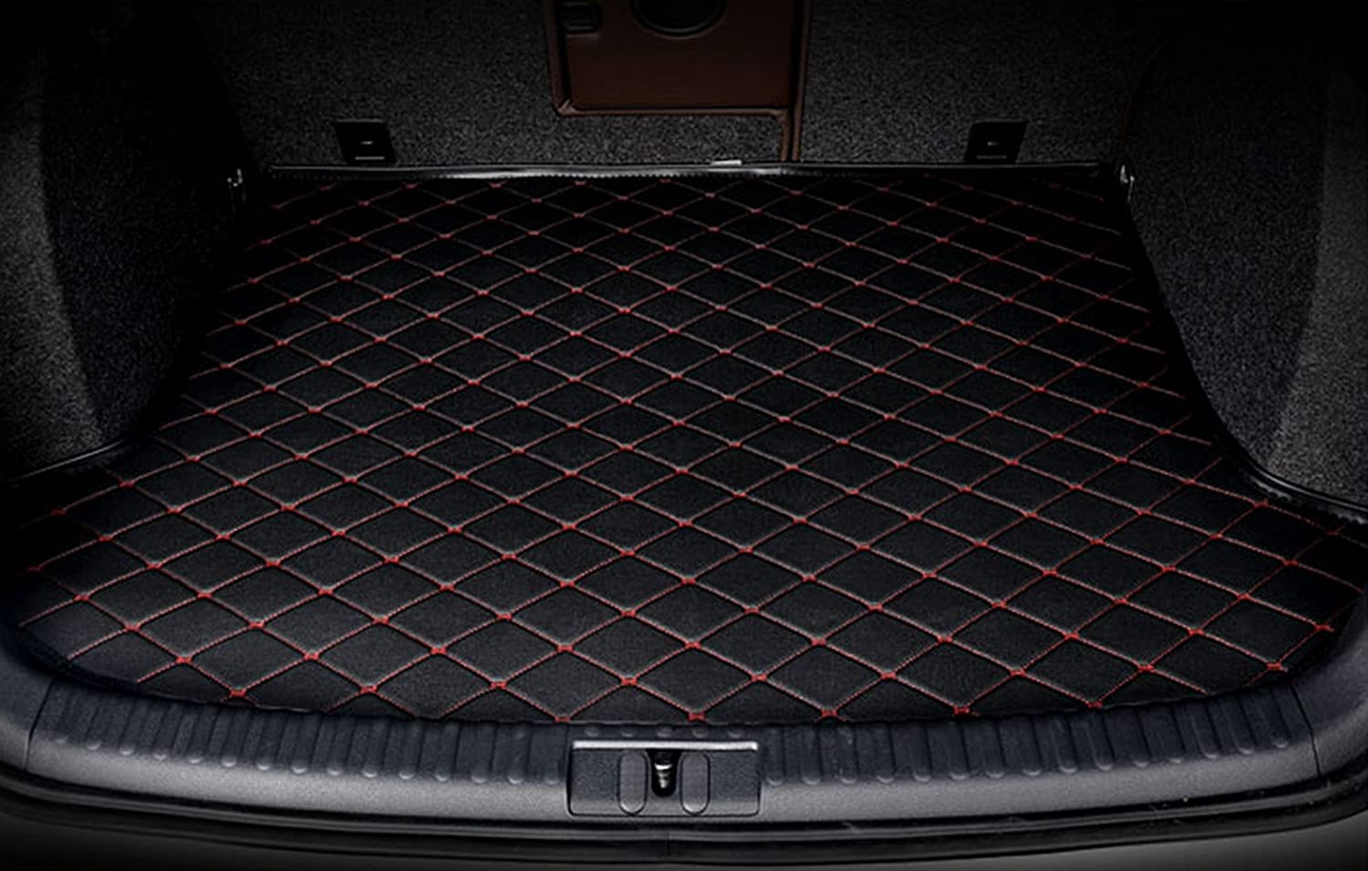 Worth-Mats All Weather Luxury XPE Leather Waterproof Custom Fits Rear Cargo Mats for Alfa Romeo Giulia Seden (Black with Red Stitching)