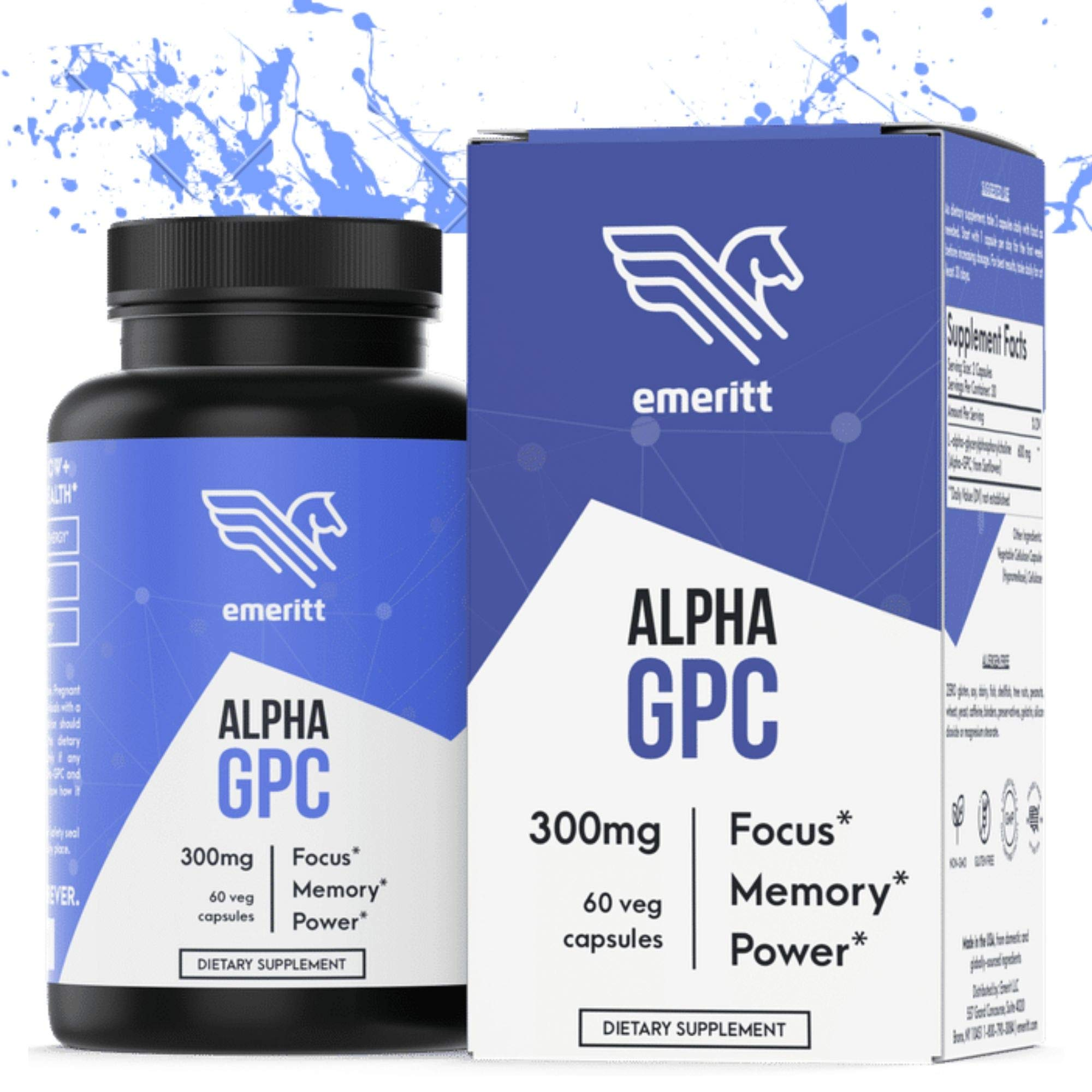 Alpha GPC Premium Choline Supplement | Brain Nootropic from Pure Sunflower Lecithin for Brain Support, Enhanced Focus and Memory | Vegan, Non GMO, No Soy, Pharmaceutical Grade | 600 mg 30 Servings by Emeritt