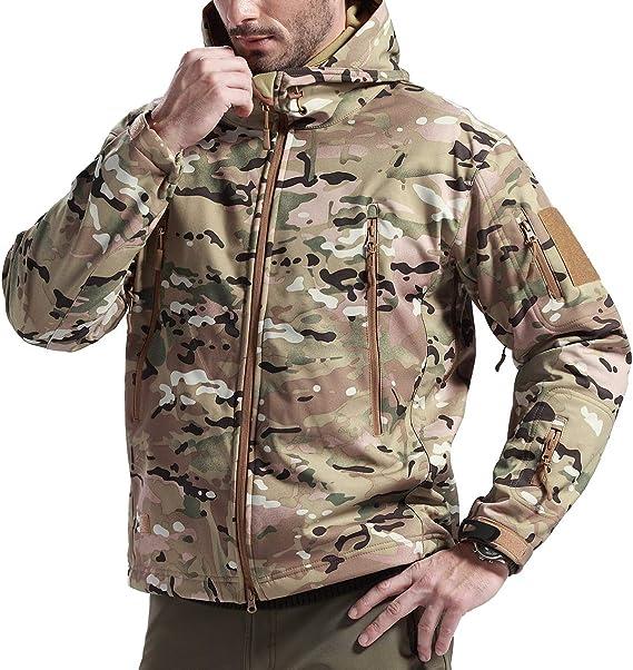 FREE SOLDIER Chaqueta Impermeable Softshell para Hombres Chaqueta Militar T/áctica Chaqueta Deporte de Invierno Ropa de Trabajo con Capucha para Senderismo Caza Esqu/í Corriendo