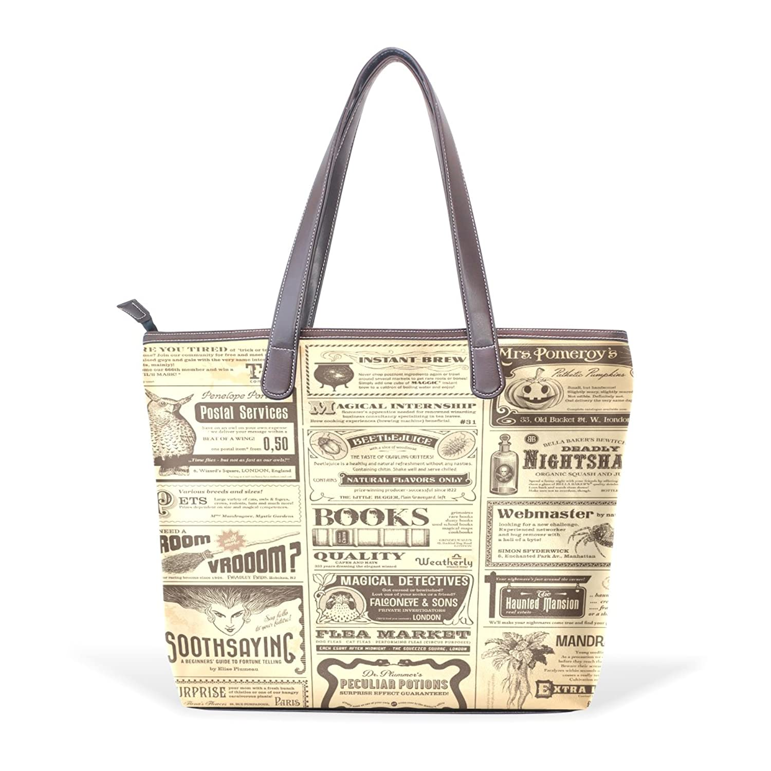CCBHGY Women's Yellow Pages Ads pattern Leather Handbag Zipper Shoulder Bag Tote Bag