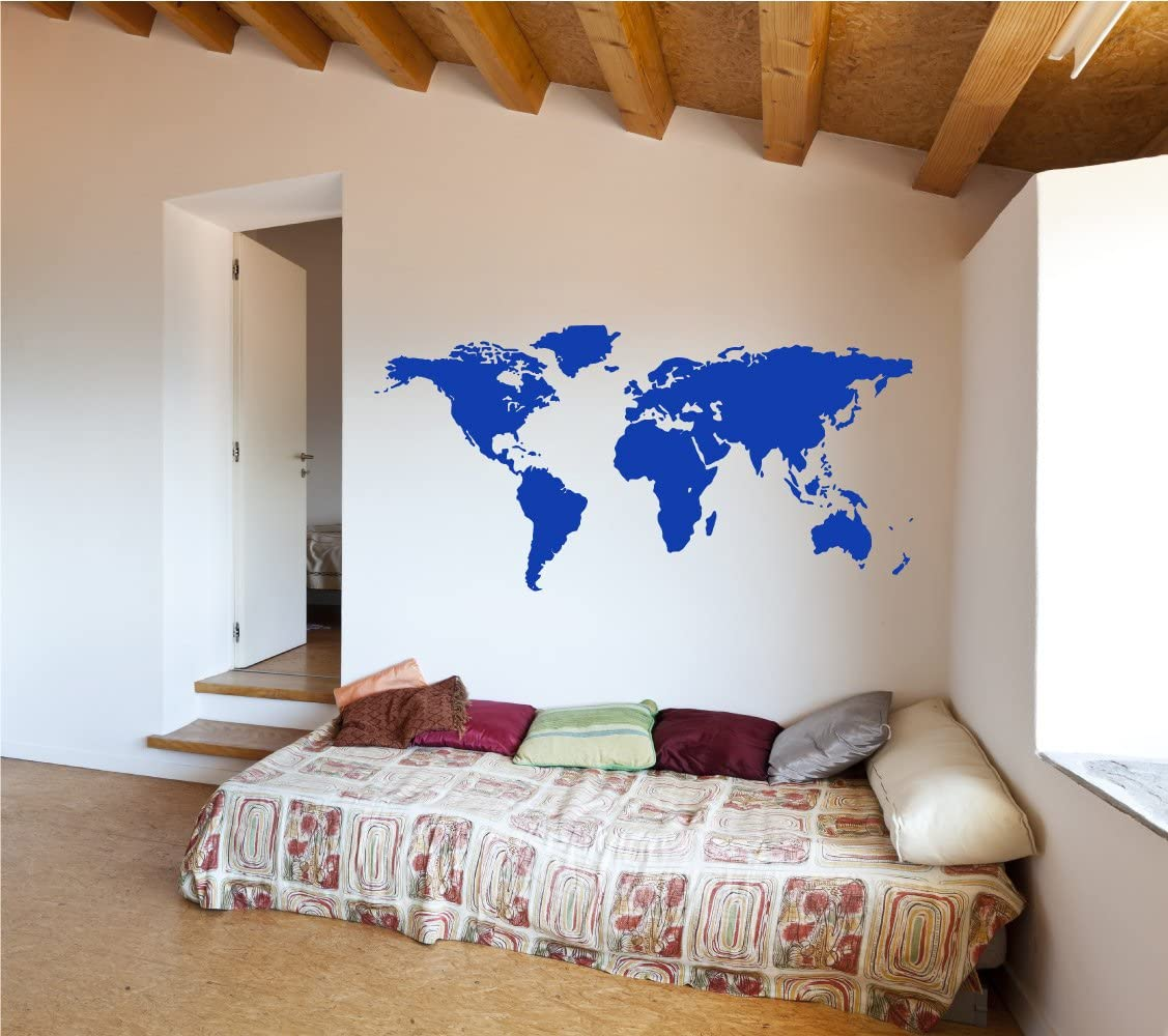 The Decal Guru World Map Vinyl Wall Art Sticker   Earth Home Decor Removable Sticker Easy to Apply Wall Graphic (Dark Blue, 38x56 inches)