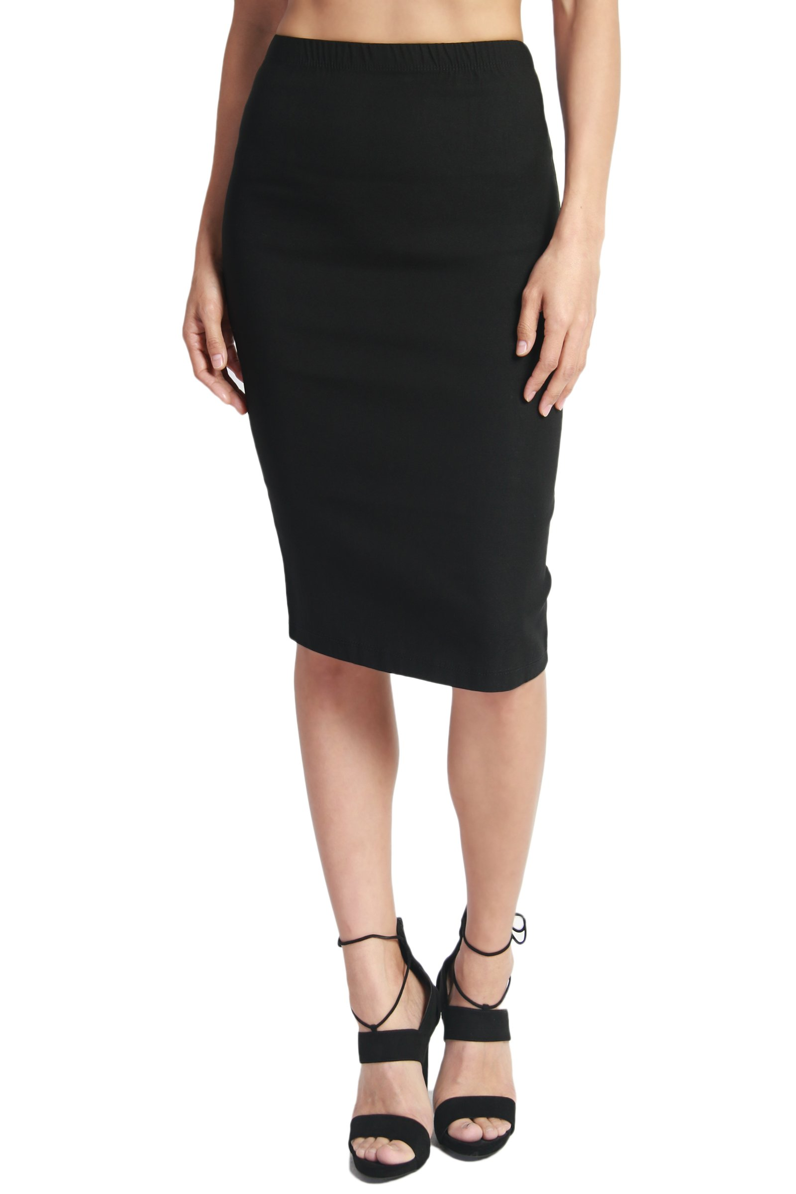 TheMogan Women's High Waist Stretch Bodycon Pencil Skirt Black 3XL