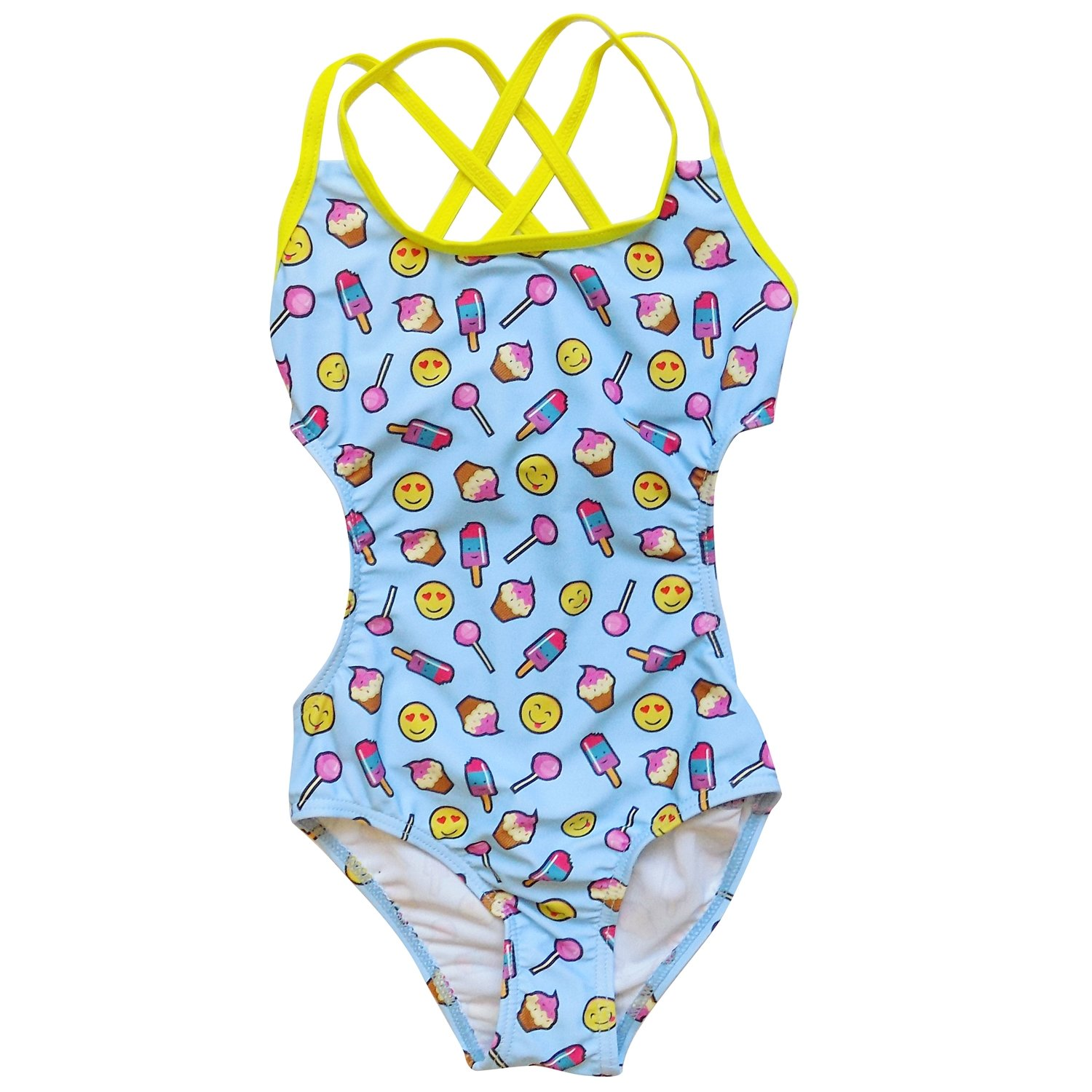 So Sydney Swim Girls' One Piece Cut Out Cross Back Tie Swimsuit Bathing Suit
