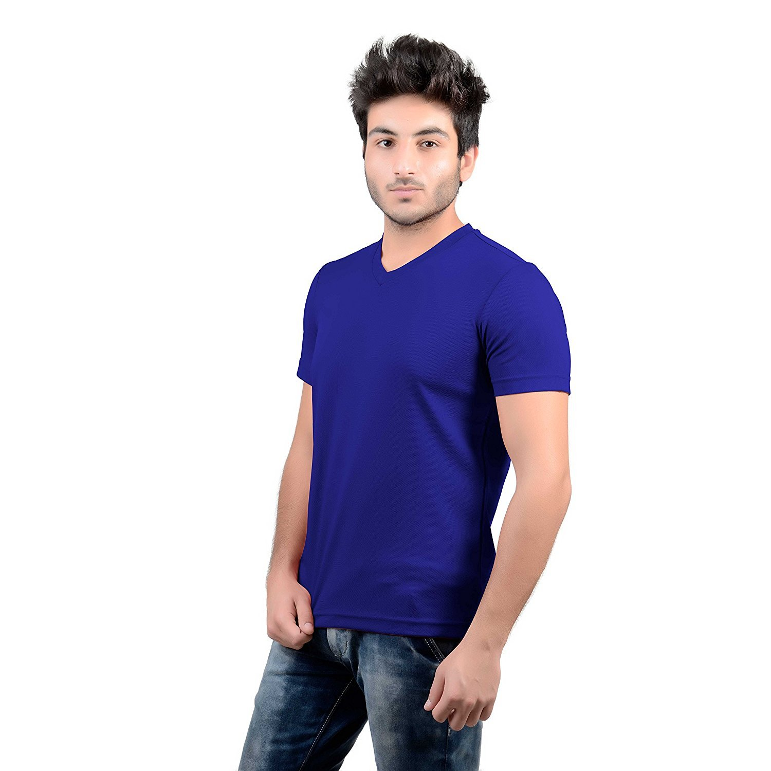 4f705e851 DS WORLD Stylish Regular Fit Solid Men's V-Neck Half Sleeves T-Shirt for Men  (Royal Blue): Amazon.in: Clothing & Accessories