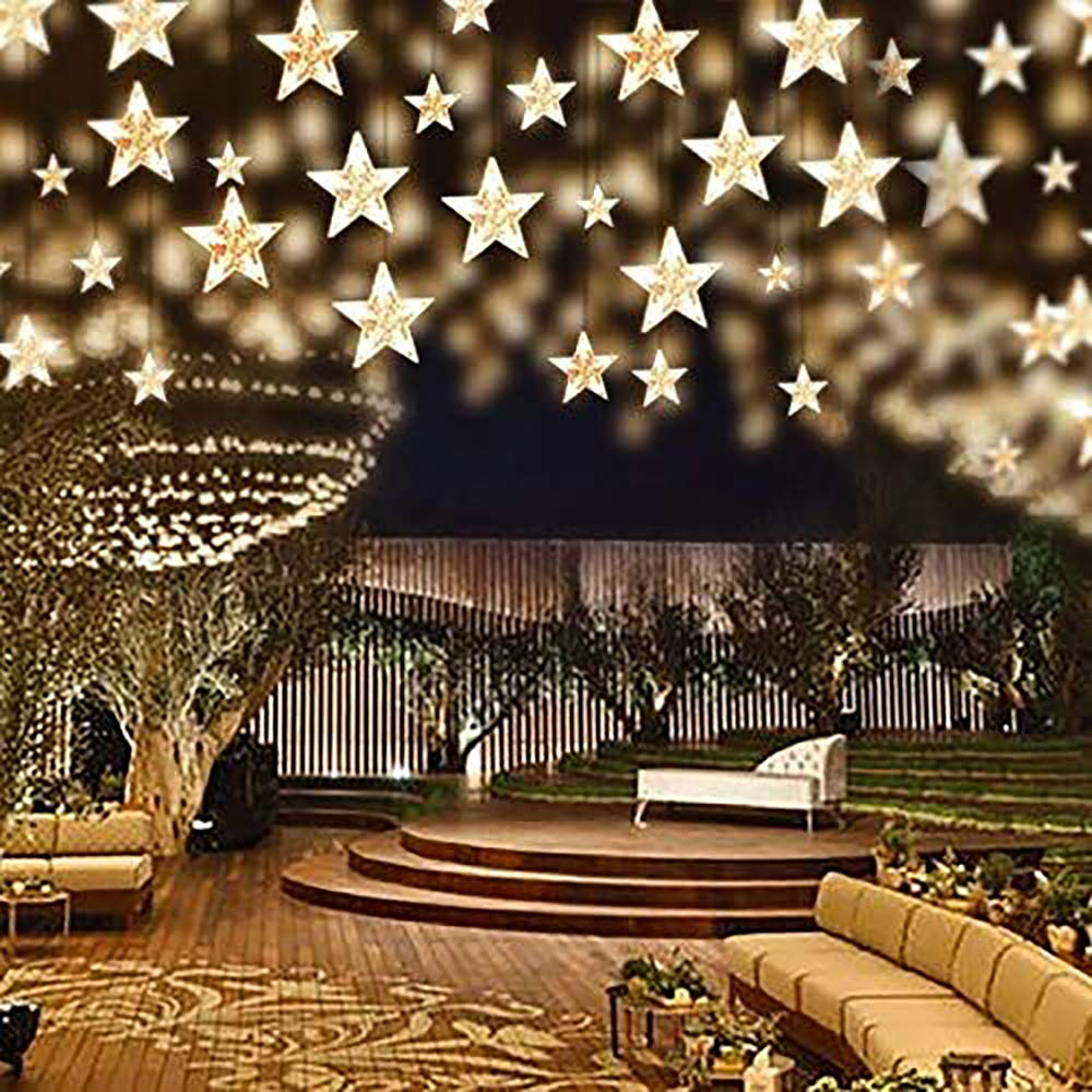 12 Big Stars Curtain String Lights 120 LED Window Curtain Light with 8 Flashing Modes IP65 Waterproof for Christmas