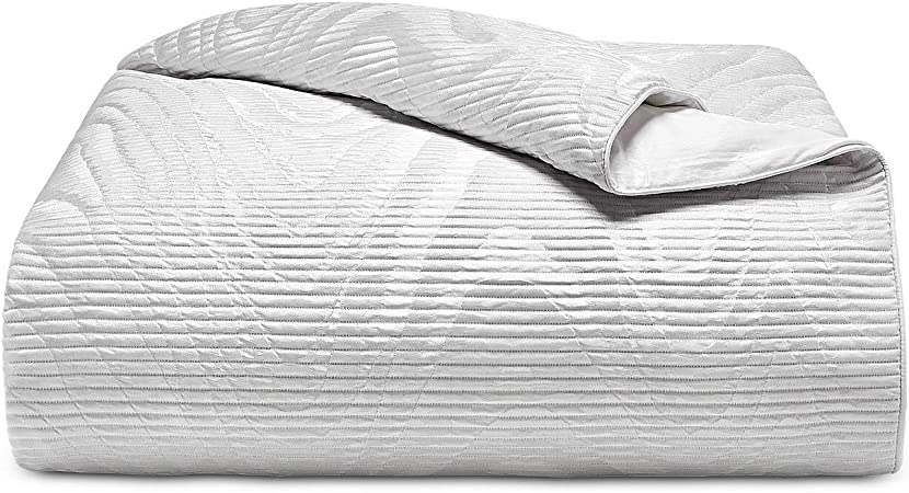 Hotel Collection Classic Moire White Full//Queen Duvet Cover