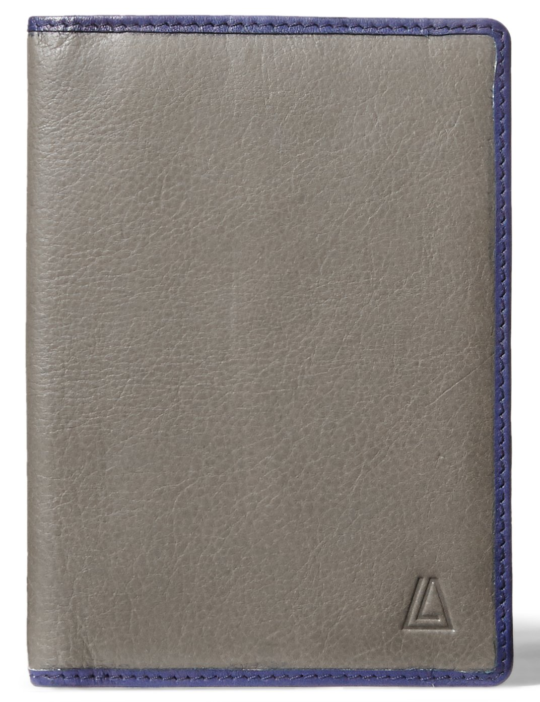 LEATHER ARCHITECT-Men's 100% Leather RFID Passport Holder-Anthracite/Ink Blue