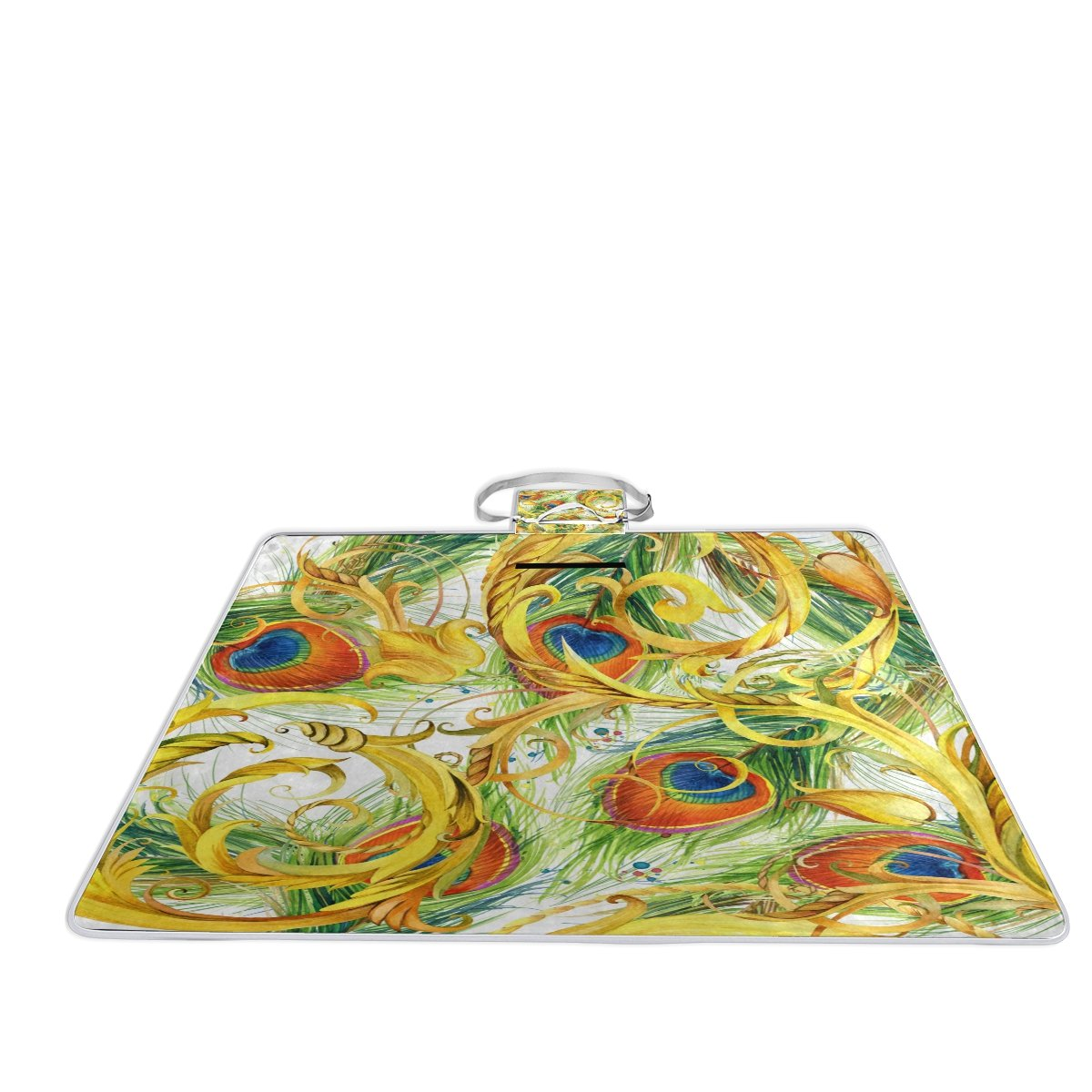 Bennigiry Gold Peacock Outdoor Picnic Blanket Mat, Extra Large Foldable and Waterproof Family Camping Mat for Outdoor Beach Hiking Grass Travel
