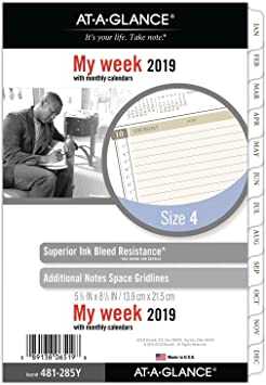 """Day Runner Desk Siz... 5-1//2/"""" x 8-1//2/"""" AT-A-GLANCE 2019 Weekly Planner Refill"""