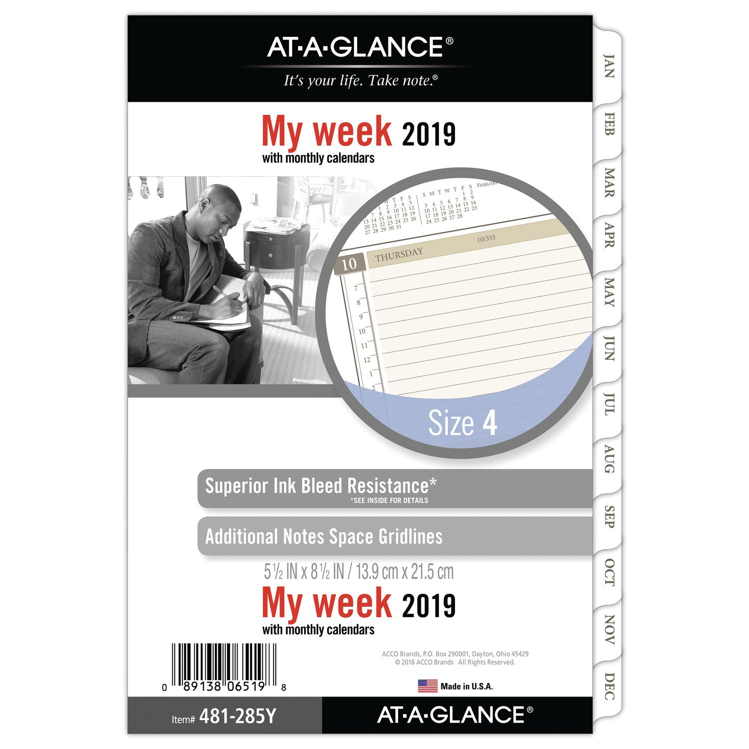 AT-A-GLANCE 2019 Weekly & Monthly Planner Refill, Day Runner, 5-1/2'' x 8-1/2'', Desk Size 4, Loose Leaf (481-285Y)