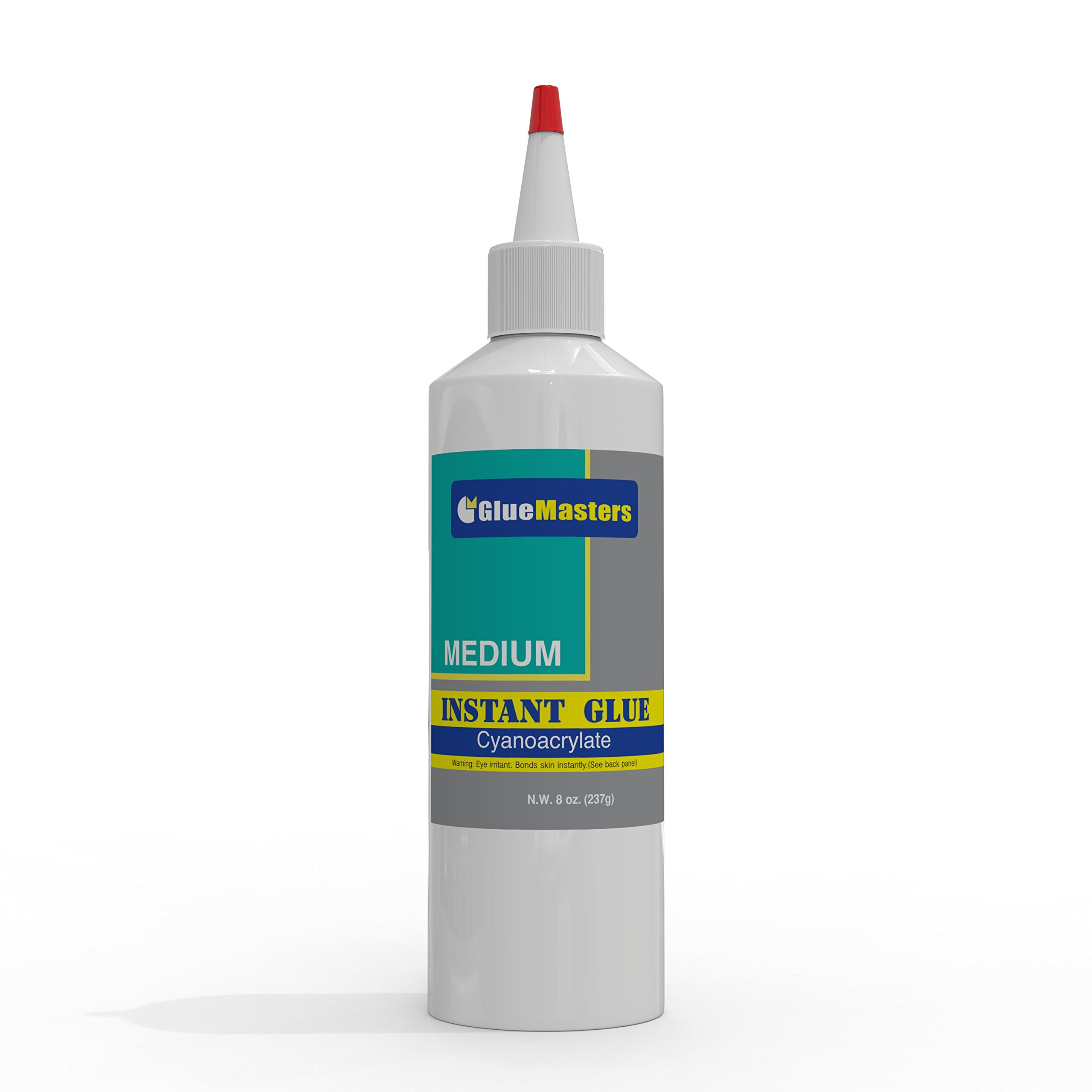 Professional Grade Cyanoacrylate (CA)''Super Glue'' by Glue Masters - Extra Large 8 OZ (226-gram) Bottle with Protective Cap - Medium Viscosity Adhesive for Plastic, Wood & DIY Crafts by Glue Masters