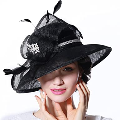 d63ac0c3c1a June s Young Women Hat Sun Hat Organza Fashion Hat Ruffle Wave Brim Wide  Brim (Black