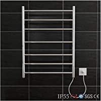 ELEGANT SHOWERS Heated Towel Rail Round Stainless Steel Polished 7 Bars