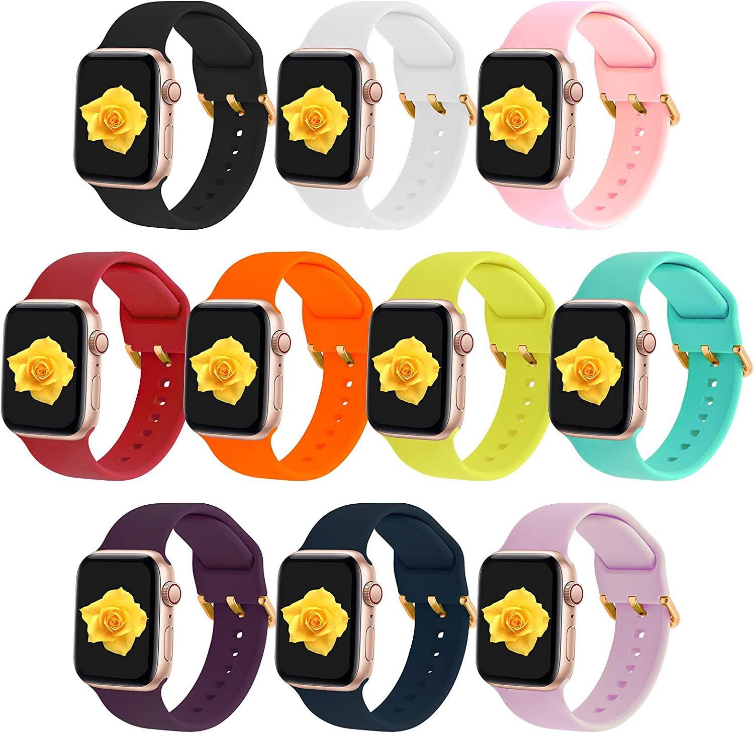 XVGJDZ 10-Pack Replacement Wristband Compatible with Apple Watch 38mm 40mm 42mm 44mm,Soft Silicone Watch Strap Durable Sport Bands for iWatch SE/Series 6/5/4/3/2/1.