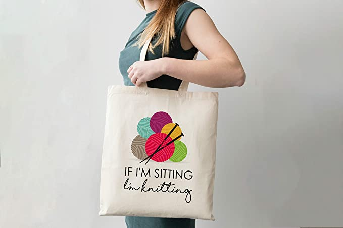 Yes No I like to knit I am not old  Cotton Tote Bag \\\\