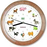 KOOKOO KidsWorld madera reloj de pared con sonidos de animales reloj con 12 animales de granja con sensor de luz