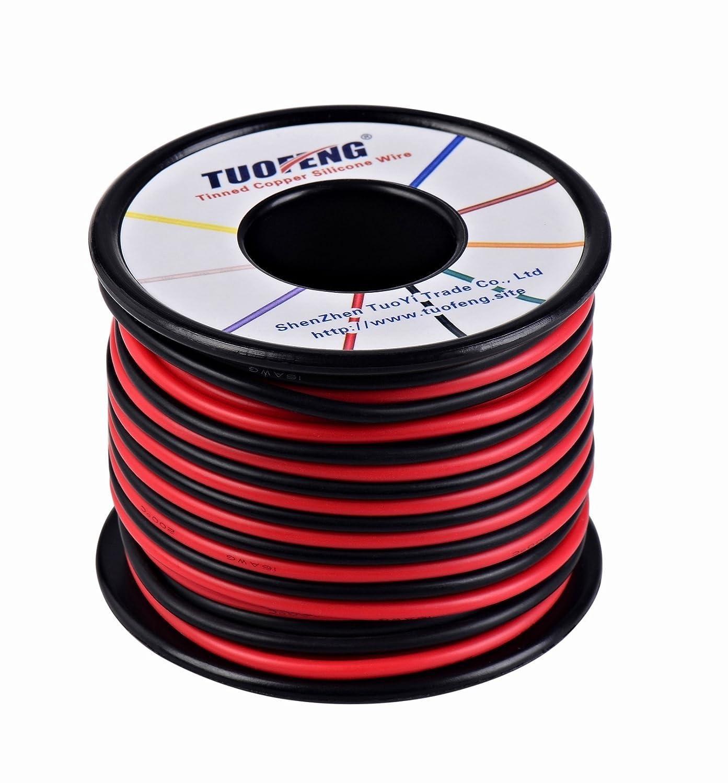 TUOFENG 16 AWG Cable, 20 m de cable de silicona Suave y flexible Alambre de cobre estañ ado Resistencia a altas temperaturas 2 cables separados 10 m Negro y 10 m Cable rojo trenzado para impresora 3D, cables de prueba, RC appli HAERKN