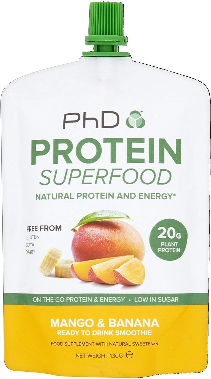 PHD Proteína Superfood plátano y mango sabor RTD batido, 8 x 130 g