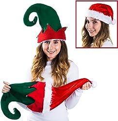 c41a7e7f881aa Funny Party Hats Christmas Elf Hat - Felt Elf Hat with Jingle Bells Ears -  Santa
