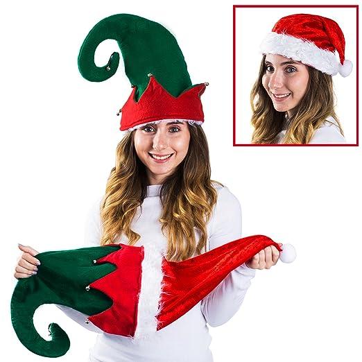 7ca339eac2aa7 Funny Party Hats Santa Hat - Christmas Hat - Elf Hat - Reversible Santa Hat  -