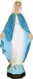 "Ferrari & Arrighetti Our Lady of The Miraculous Medal Garden Statue in Unbreakable Material, Rain-Resistant, Hand-Painted (31.5"" / 80cm Tall)"