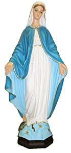 "Ferrari & Arrighetti Our Lady of The Miraculous Medal Garden Statue in Unbreakable Material, Rain-Resistant, Hand-Painted (23.6"" / 60cm Tall)"