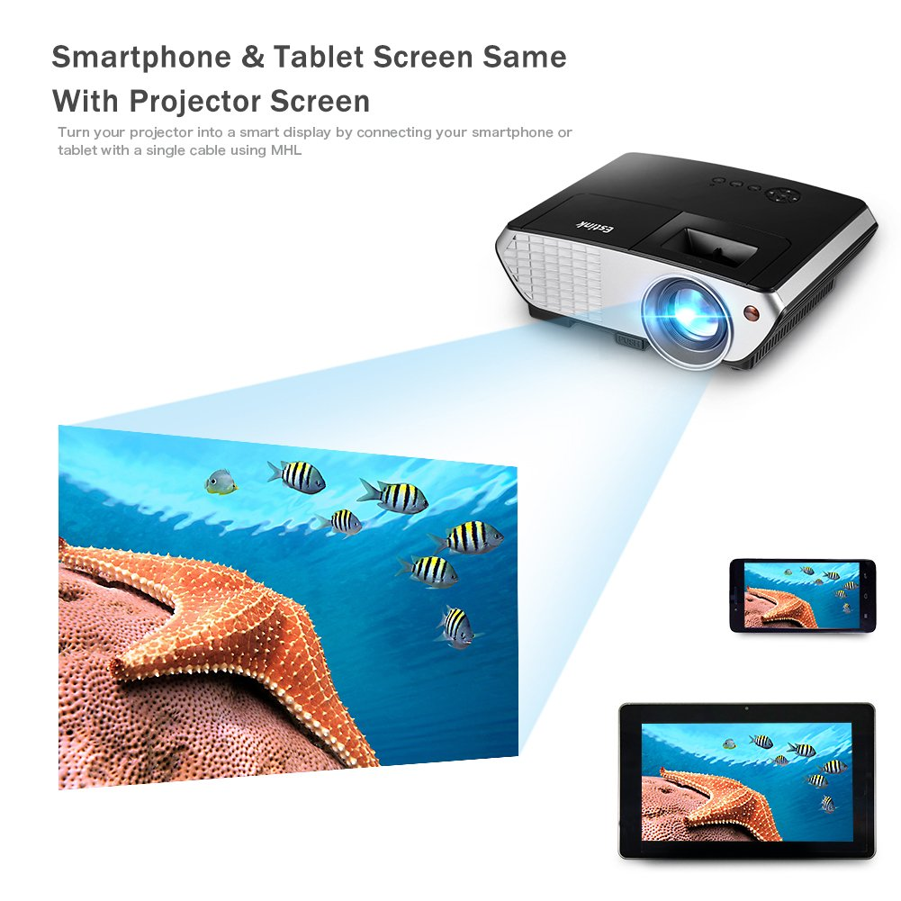 Amazon.com: Video Projector 2000 Lumens Multimedia Home Theater LED ...