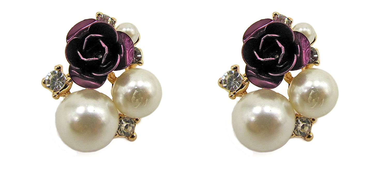 Calisa Designs Purple Rose Earrings with Pearls and Crystals