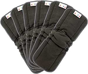 AlVABABY Charcoal Bamboo Inserts with Gussets,Natures Cloth Diaper liner,5-Layer BambooCharcoalViscoseStapleFiber Inserts,Reusable Liners for Baby Cloth Diapers 6PCS 6FLN