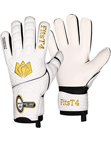 FitsT4 Goalie Goalkeeper Gloves with Fingersaves   Super Grip Palms Soccer  Goalkeeper Gloves for Youth c95e553c8