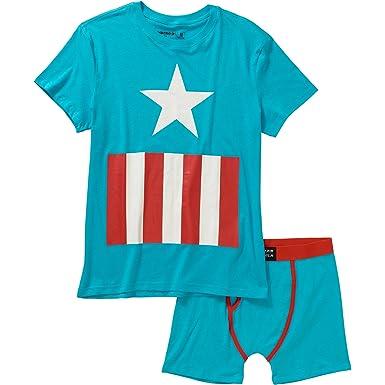 dbe0ddd4253954 Marvel Captain America Men s Underoos Top   Boxers Underwear Set - Blue -
