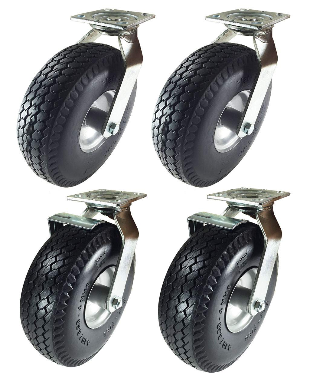 Pneumatic Wheel Caster 10'' x 3-1/2'' Rigid Swivels with Brake (Foam-Flat Free) (2 Swivels & 2 Swivels w/Brake)
