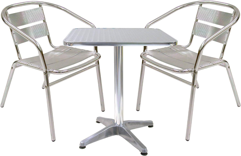Juego de mesa de aluminio con 2 sillas para casa y Mesa de balcón ...