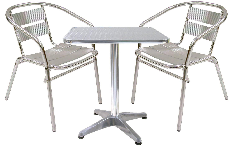 Juego de mesa de aluminio con 2 sillas para casa y Mesa de balcón bar: Amazon.es: Jardín