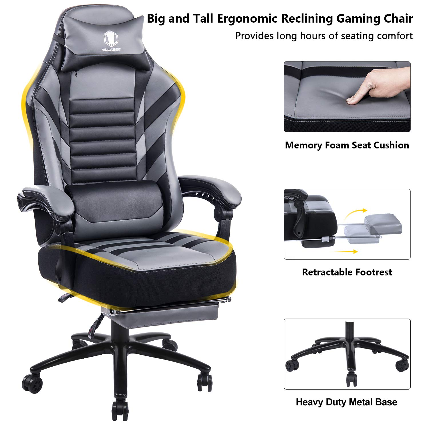 KILLABEE Big & Tall 400lb Memory Foam Reclining Gaming Chair Metal Base - Adjustable Back Angle and Retractable Footrest Ergonomic High-Back Leather Racing Executive Computer Desk Office Chair, Gray