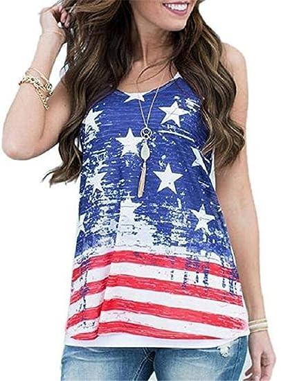 0655454a7847fd ALAPUSA Women s Patriotic American Flag Camisole Tank Top X-Small Blue