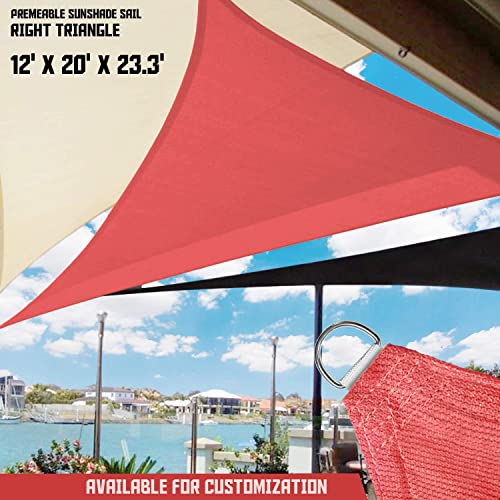 TANG Sunshades Depot 12 x 20 x 23.3 Sun Shade Sail 180 GSM Right Triangle Permeable Canopy Rust Red Custom Commercial Standard