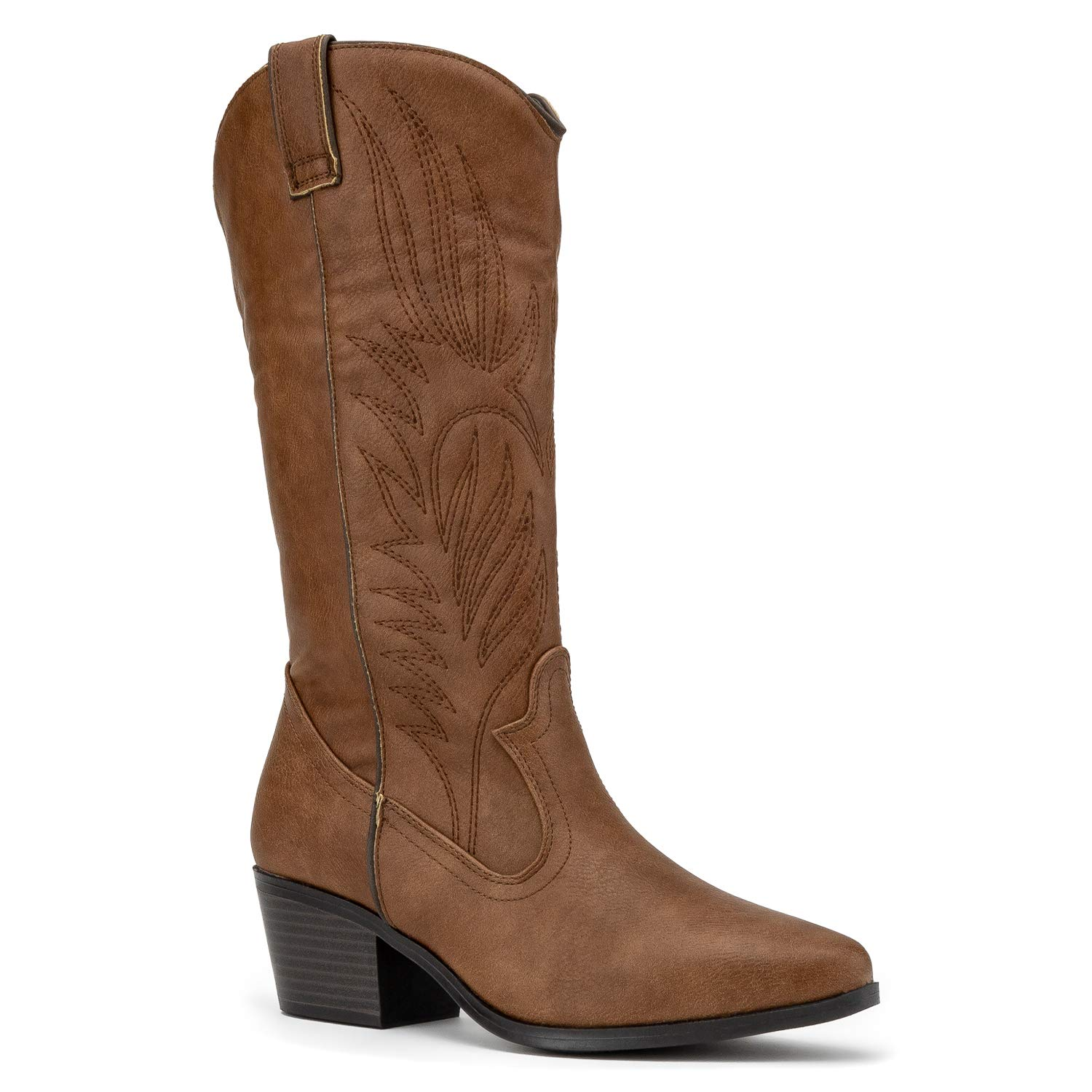 RF ROOM OF FASHION Women's Pointy Toe Low Stacked Heel Western Cowboy Pull on Boots Cognac (8)