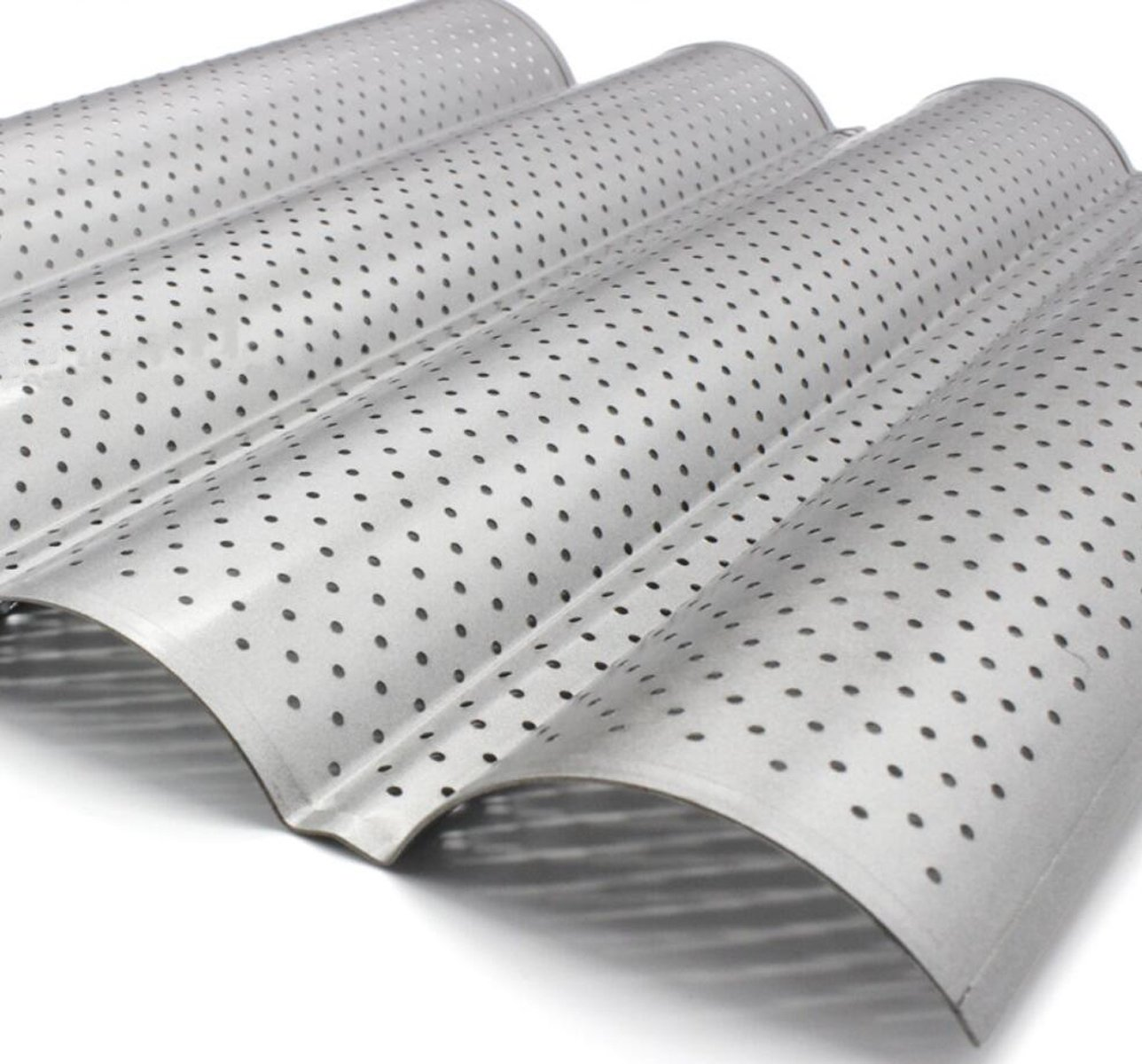 Four Groove French Bread Pan, KOOTIPS Non-stick Perforated Baguette Pan  French Italian Bread Pan Wave Loaf Bake Mold Board Subway Mold Tins Basket